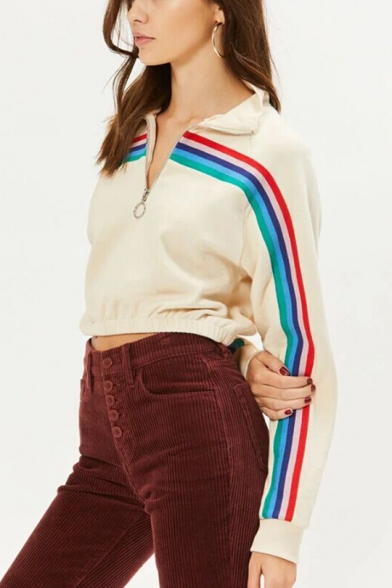 New Stylish Tape Striped Patched Zipper Front Stand Collar Long Sleeve Apricot Cropped Sweatshirt