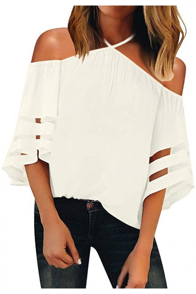 Popular Simple Plain Halterneck Cold Shoulder Organza Panel Sleeve Casual Loose T-Shirt