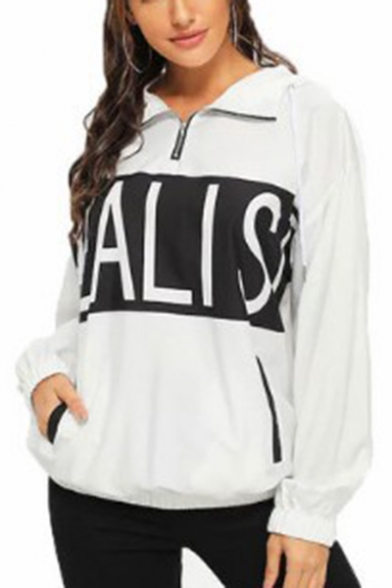 REALIST Letter Print Patchwork Zip Up Front Lapel Collar Long Sleeve Two Pockets White Loose Fit Pullover Sweatshirt