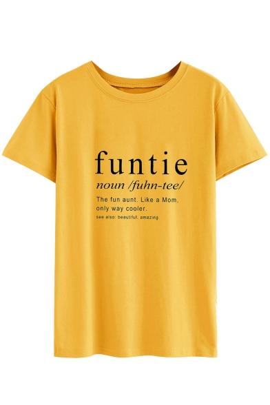 Simple Letter FUNTIE NOUN Pattern Round Neck Short Sleeve Yellow Tee