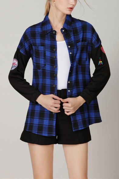 Stylish Blue Check Plaid Print Patched Long Sleeve Button Down Casual Over Shirt