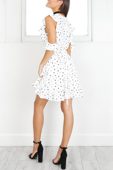 Summer Chic White Polka Dot Pattern V-Neck Cold Shoulder Tied Waist Mini A-Line Ruffle Dress