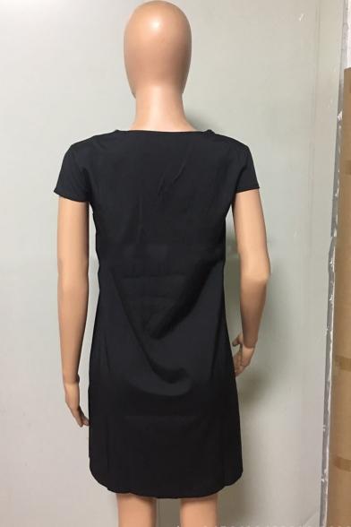 Summer Hot Popular Solid Color V-Neck Cap Sleeve Mini Swing Dress for Women