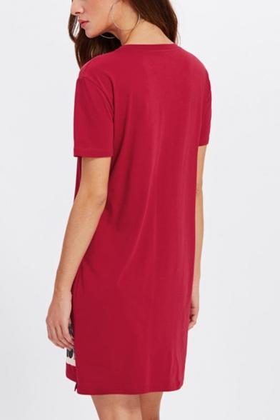 Women's Funny Character Print Letter HONGKON Round Neck Short Sleeve Mini Cotton Dress
