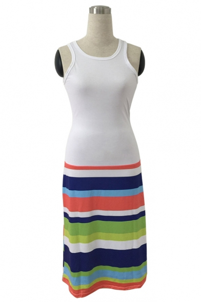 Women's Hot Fashion Round Neck Sleeveless Colorblock Stripes Printed Midi Tank White Dress