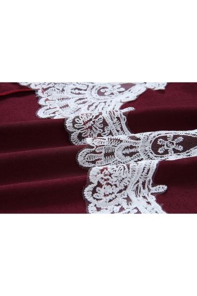 Women's Stylish Chic Lace Trimmed Round Neck Long Sleeve High Low Hem Asymmetrical Dress