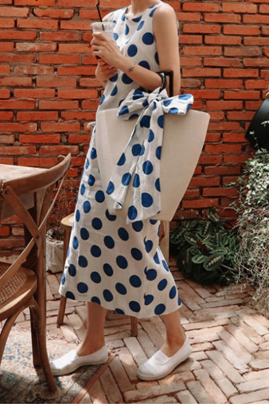 Women's Summer Classic Sexy Round Neck Sleeveless Polka Dots Printed Midi Tank Blue Dress