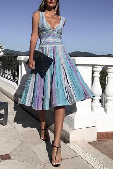 Women's Summer Sexy Plunge Neck Sleeveless Stripes Midi Swing A-line Purple Dress