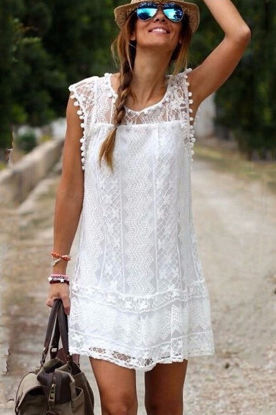 Womens Chic Solid Color Round Neck Sleeveless Pompom Hem Mini Casual Lace Tank Dress