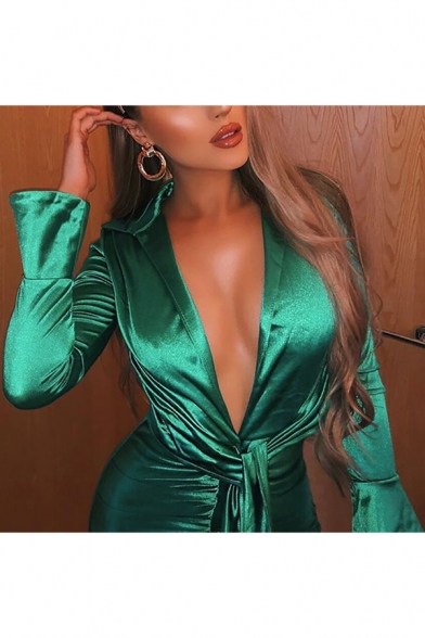 Womens New Trendy Simple Plain Sexy Plunging Neck Long Sleeve Tied Waist Green Mini Bodycon Bandage Shirt Dress