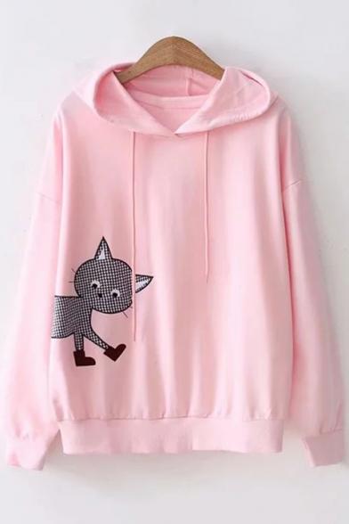 Cartoon Cat Printed Embroidered Drawstring Long Sleeve Hoodie