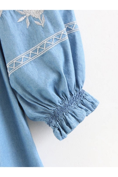 Chic Blue Floral Embroidery Ruffled Off the Shoulder Mini Shift Chambray Dress