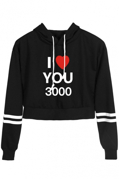 Cool Heart Letter I LOVE YOU 3000 Striped Long Sleeve Cropped Hoodie
