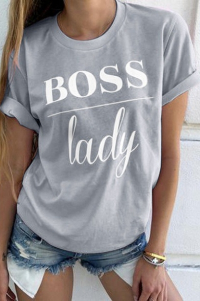 Cool Simple Letter BOSS LADY Print Round Neck Short Sleeve Casual T-Shirt