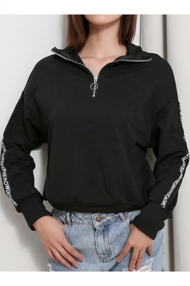 Cool Women's Zip Up Front High Collar Letter Print Long Sleeve Black Sweatshirt