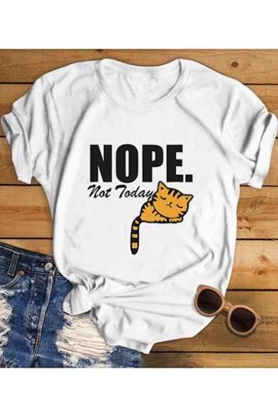 Cute Cartoon Cat Letter NOPE Printed Short Sleeve Round Neck White Tee