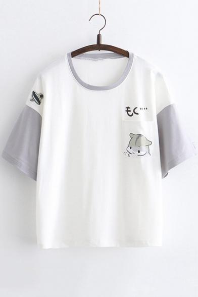 Cute Cartoon Pattern Color Block Round Neck Short Sleeve Summer Girls T-Shirt