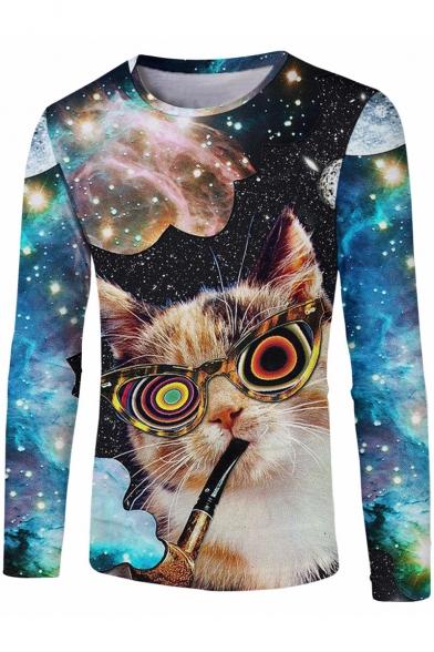 Funny Cat Galaxy Print Round Neck long Sleeve Black Pullover Sweatshirt
