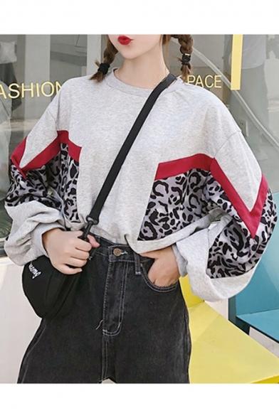 Girls Leopard Printed Colorblock Round Neck Long Sleeve Sweatshirt