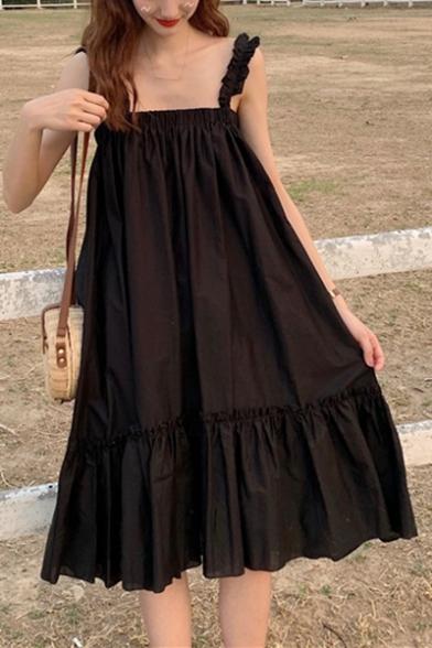 Girls Summer Simple Plain Fancy Ruffled Hem Holiday Midi Swing Strap Dress