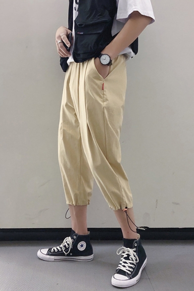 Guys Retro Chinese Style Drawcord Cuff Loose Fit Tapered Pants Cropped Linen Pants