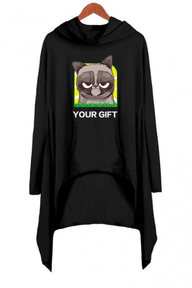 Hot Fashion Grumpy Cat Letter YOUR GIFT Long Sleeve Mini Hooded Asymmetrical Dress
