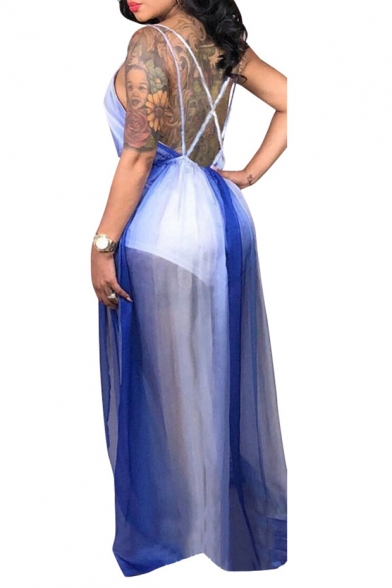 Hot Fashion Plunge Neck Sleeveless Backless Colorblock Mesh Patch Length Floor Slip Blue Dress