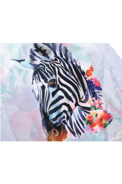 Men's Fashion 3D Floral Zebra Print Long Sleeve White Hoodie with Pocket