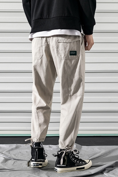 Men's Summer Casual Cotton Camo Patched Drawstring Cuff Sport Loose Cargo Pants