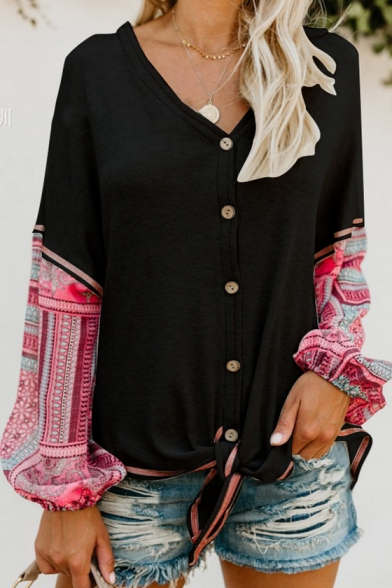 New Stylish Patched Long Sleeve V-Neck Knotted Hem Button Down Casual Tee