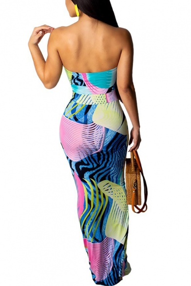 New Trendy Off The Shoulder Sleeveless Printed Bodycon Bandeau Maxi Blue Dress For Women