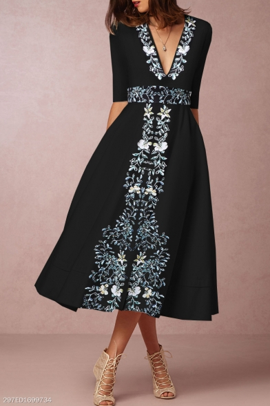 New Trendy Plunge Neck Half Sleeve Floral Print Midi A-Line Black Dress For Women