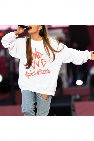 One Love Manchester Cool Popular Letter Printed Long Sleeve Round Neck Casual Loose Sweatshirt