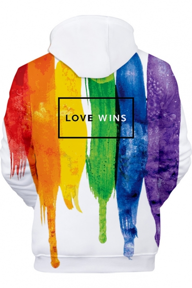 Popular Pride Month LOVE WINS Colorful Painting White Loose Sport Hoodie
