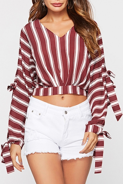 Red Striped Printed Hollow Out Tied Long Sleeve V-Neck Cropped Blouse Top