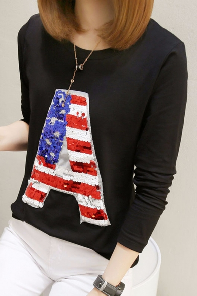 Sequin Letter A Print Round Neck Long Sleeve Loose Fit T-Shirt