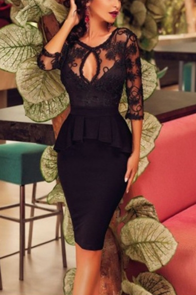 Sexy Black Cut Out Lace Insert Half Sleeve Open Back Peplum Midi Pencil Dress