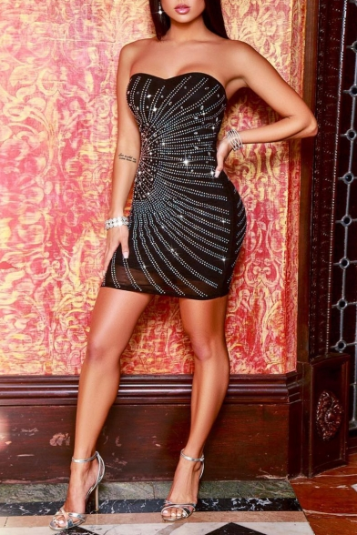 Sexy Hot drilling Embellished Black Off Shoulder Mini Bodycon Tube Dress