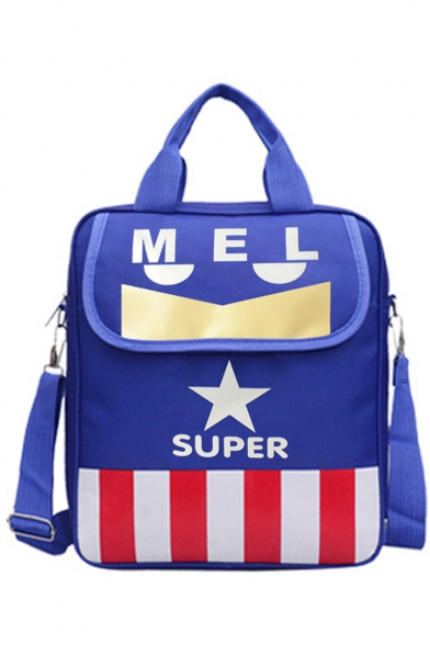 Stylish Colorblock Stripe Star Letter SUPER Printed Portable School Shoulder Bag Backpack for Juniors 28*8*32 CM
