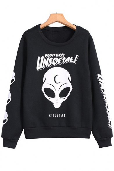 Stylish Cool Alien Letter UNSOCIAL Printed Basic Round Neck Long Sleeve Black Casual Sweatshirt  操作:肖金凤;时间:2019-