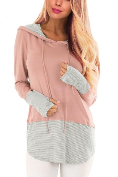 Stylish Women's Stripe Patchwork Drawstring Hood Long Sleeve Hoodie