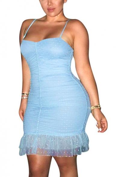 Summer New Fashion Light Blue Spaghetti Strap Polka Dot Mesh Mini Bodycon Slip Dress