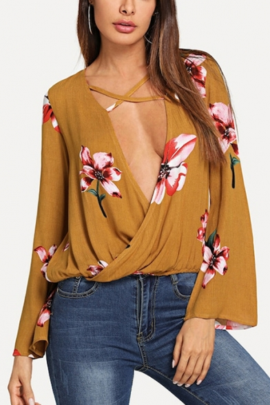 Summer Sexy Surplice Plunging V-Neck Long Sleeve Chic Floral Printed Yellow Blouse Top