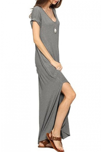 Summer Simple Plain V-Neck Short Sleeve Split Detail Plain Maxi Shift Dress Whit Pockets