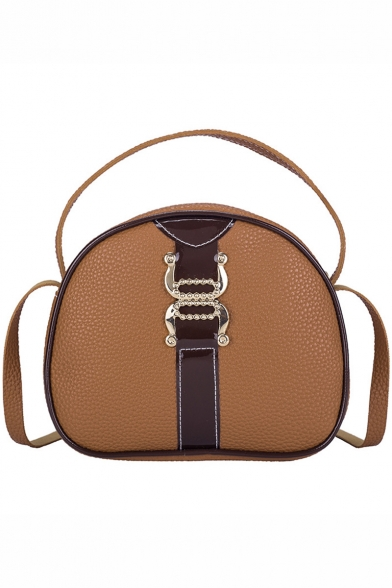 Trendy Color Block Buckle Patched Portable Crossbody Satchel Bag 20*17 CM