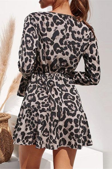 Trendy Leopard Print V-Neck Long Sleeve Tie Waist Mini A-Line Chiffon Dress For Women