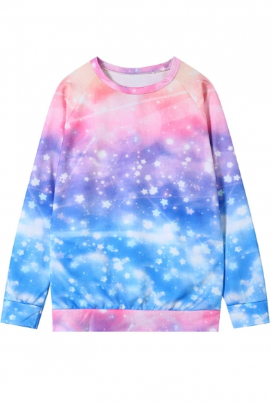 Trendy Ombre Color Pink Starry Sky Galaxy Print Long Sleeve Relaxed Sweatshirt