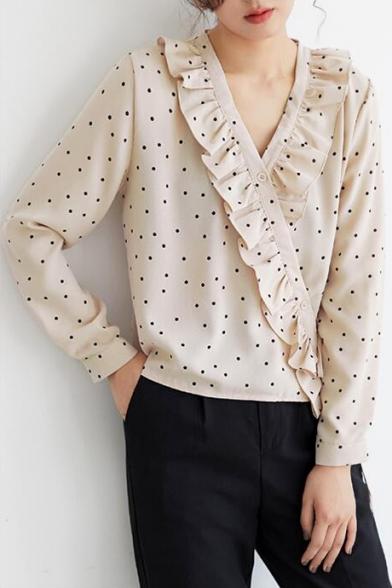 Trendy Polka Dot Printed Ruffled V-Neck Long Sleeve Apricot Blouse Top