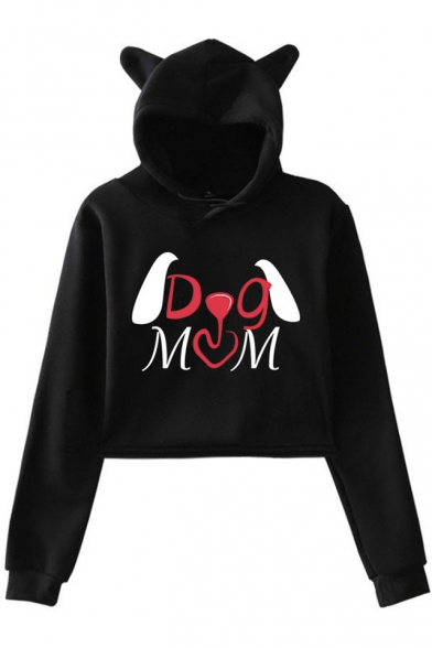 Unique Cute Letter DOG MOM Print Ear Design Hood Loose Fit Cropped Hoodie, Black;dark navy;pink;white;gray, LM533951