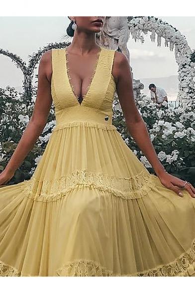 Women's Fashion Sexy Plunge Neck Sleeveless Plain Lace Patch Floor Length Tank Yellow Dress